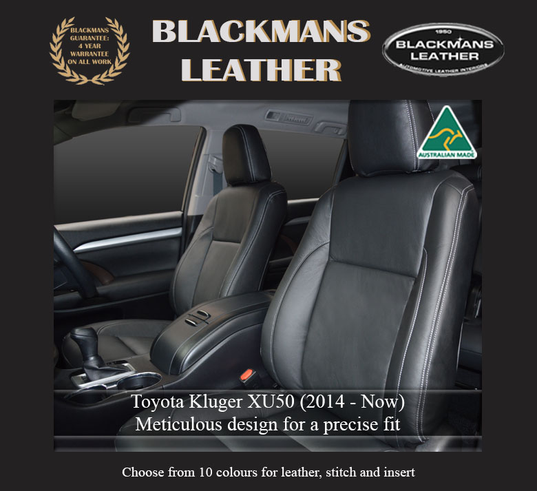 Leather seat covers for Toyota Kluger XU50 2014 Now front Blackmans