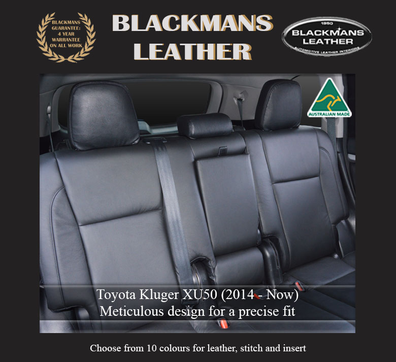 Leather seat covers for Toyota Kluger XU50 2014 Now rear Blackmans