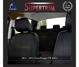 Ford Ranger PX MK.I (Jul 2011 - Aug 2015) FRONT Full-Back Seat Covers with Map Pockets & REAR Seat Covers, Snug Fit, Premium Neoprene (Automotive-Grade) 100% Waterproof