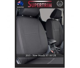 Mazda BT-50 UR (Oct 2015 - Now) FRONT Seat Covers Full-Back With Map Pockets, Snug Fit, Premium Neoprene (Automotive-Grade) 100% Waterproof