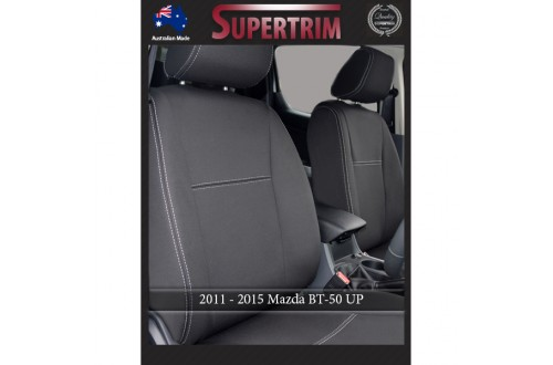 Mazda BT-50 UP (Aug 2011 - Sept 2015) FRONT Seat Covers Full-Back With Map Pockets, Snug Fit, Premium Neoprene (Automotive-Grade) 100% Waterproof