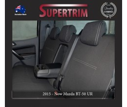 Mazda BT-50 UR (Oct 2015 - Now) REAR + Armrest Access Dual Cab Seat Covers, Snug Fit, Premium Neoprene (Automotive-Grade) 100% Waterproof
