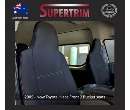 Seat Covers FRONT 2 BUCKET PAIR Snug Fit for Toyota Hiace (Mar 2005 - Now) H200 MK.5 (Van) Premium Neoprene (Automotive-Grade) 100% Waterproof