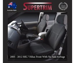 Seat Covers FRONT 2 Bucket Seats With No Side Airbags Snug Fit For Hilux MK.7 April 2005 - July 2011, Premium Neoprene (Automotive-Grade) 100% Waterproof