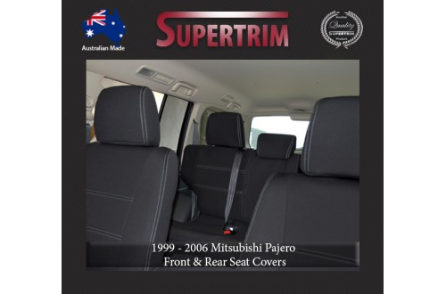 Seat Covers Front Pair Full-back With Map Pockets & Rear Snug Fit For Mitsubishi Pajero (1999 - 2006), Premium Neoprene (Automotive-Grade) 100% Waterproof
