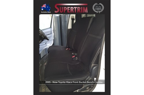 Seat Covers FRONT BUCKET BENCH COMBO Snug Fit for Toyota Hiace (Mar 2005 - Now) H200 MK.5 (Van) Premium Neoprene (Automotive-Grade) 100% Waterproof
