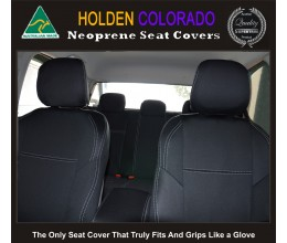 Holden Colorado RG (Apr 12 - Now) FRONT + REAR Seat Covers with Rear Armrest Access, Snug Fit, Premium Neoprene (Automotive-Grade) 100% Waterproof