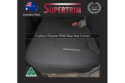 REAR Full-length Seat Covers (light grey thread) for Toyota Landcruiser 100 Series Premium Neoprene Waterproof