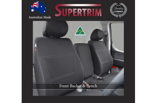 FRONT Seat Covers in Bucket & Bench suitable for Toyota Landcruiser Series 70 - 79 Series Premium Neoprene (Automotive-Grade) 100% Waterproof