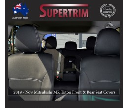 Seat Covers Front Pair & Rear + Armrest Access, Snug Fit for Triton MQ (May 2015-Now), Premium Neoprene (Automotive-Grade) 100% Waterproof