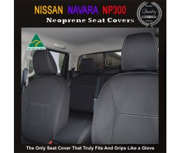 Nissan Navara NP300 Snug fit Seat Covers $189 (2017 model available) - FRONT PAIR Charcoal black,Waterproof Premium quality Neoprene (Wetsuit), UV Treated