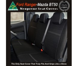Mazda BT-50 TAILOR-MADE Rear Seat Covers (NEW: 2017 model available) -  100% Perfect fit, Charcoal black, 100% Waterproof Premium quality Neoprene (Wetsuit), UV Treated Copy