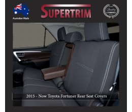 Seat Covers Full-Back Rear + Armrest Snug Fit For (Oct 2015 - Now) Toyota Fortuner (AN160), Premium Neoprene (Automotive-Grade) 100% Waterproof