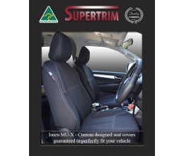 FRONT Seat Covers Full-back with Map Pockets Snug Fit for Isuzu MU-X (Nov 2013 - Now), Premium Neoprene (Automotive-Grade) 100% Waterproof