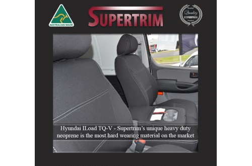 Seat Covers FRONT Bucket Bench With Full-Back, Snug Fit for Hyundai iLoad TQ-V (Feb 2008 - Now)  , Premium Neoprene (Automotive-Grade) 100% Waterproof