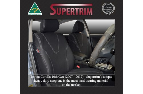 TOYOTA Corolla 10th Gen (2007-2012) SEAT COVERS - FRONT PAIR, BLACK Waterproof Neoprene (Wetsuit), UV Treated