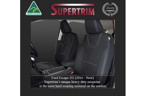 FORD ESCAPE SEAT COVERS - FRONT PAIR, BLACK Waterproof Neoprene (Wetsuit), UV Treated