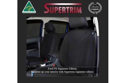 Ford Ranger PX MK.I (July 2011 - Aug 2015) FRONT Full-Back Seat Covers, Signature Edition, Snug Fit, Premium Neoprene (Automotive-Grade) 100% Waterproof