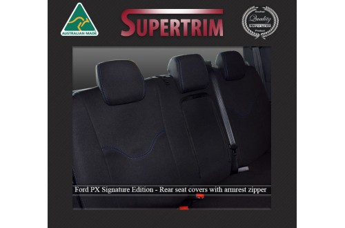 Ford Ranger PX MK.II (Sept 2015 - Now) REAR Dual Cab Seat Covers + Armrest Access, Signature Edition, Snug Fit, Premium Neoprene (Automotive-Grade) 100% Waterproof