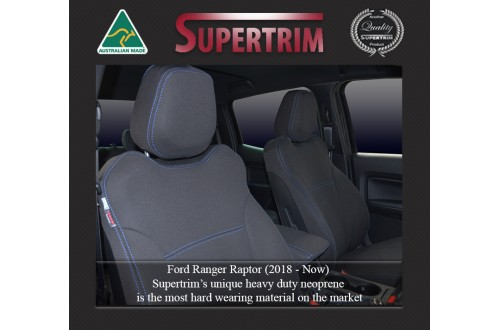 Ford Ranger Raptor (2019-NOW) FRONT Seat Covers, Custom Fit, Premium Neoprene (Automotive-Grade) 100% Waterproof