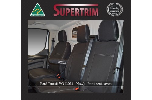 FRONT Seat Covers Bucket & Bench Custom Fit for Ford Transit VO Single Cab (2014-NOW), Premium Neoprene (Automotive-Grade) 100% Waterproof