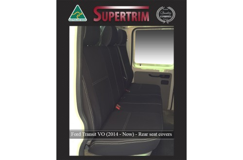REAR Seat Covers Bucket & Bench Custom Fit for Ford Transit VO Double Cab (2014-NOW), Premium Neoprene (Automotive-Grade) 100% Waterproof