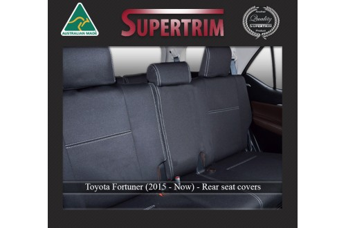 Seat Covers Full-Back Rear Snug Fit For (Oct 2015 - Now) Toyota Fortuner (AN160), Premium Neoprene (Automotive-Grade) 100% Waterproof