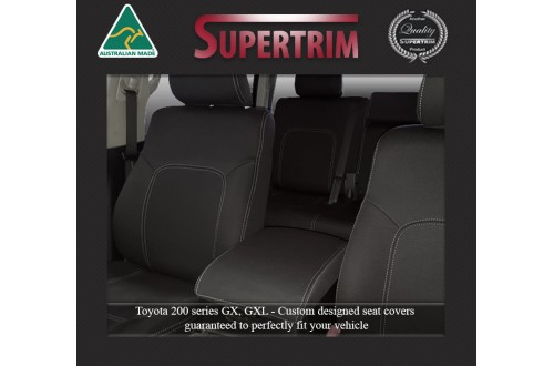 Seat Covers FRONT Pair FULL-BACK + MAP POCKETS & REAR FULL-BACK  Snug Fit For (Nov07 - Now) Landcruiser J200 (200 Series) - GX & GXL, Premium Neoprene (Automotive-Grade) 100% Waterproof