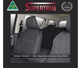 Seat Covers Front pair With Full-back & Map Pockets Snug Fit for Holden Colorado 7 RG (Dec 2012 - Now), Premium Neoprene (Automotive-Grade) 100% Waterproof