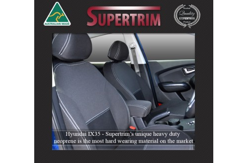 HYUNDAI ix35 (2010-2015) SEAT COVERS - FRONT PAIR, BLACK Waterproof Neoprene (Wetsuit), UV Treated