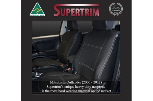 MITSUBISHI Outlander ZG/ZH (2006-2012) SEAT COVERS - FRONT PAIR, BLACK Waterproof Neoprene (Wetsuit), UV Treated