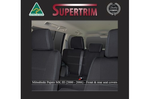 Seat Covers Front Pair & Rear Snug Fit For Mitsubishi Pajero (1999 - 2006), Premium Neoprene (Automotive-Grade) 100% Waterproof