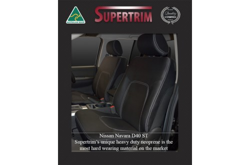 Seat Covers FRONT Pair Snug Fit For Nissan Navara D40 (Nov 2005 - May 2015), Premium Neoprene (Automotive-Grade) 100% Waterproof