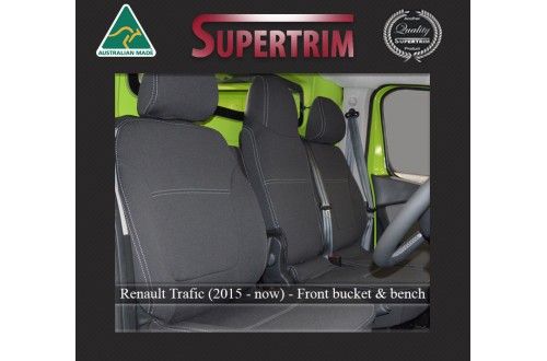 RENAULT TRAFFIC SEAT COVERS - FRONT PAIR, BLACK Waterproof Neoprene (Wetsuit), UV Treated