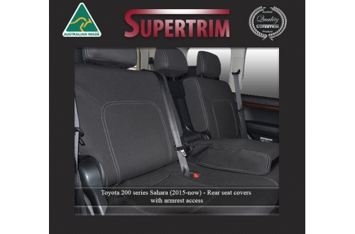 Seat Covers 2ND ROW FULL-BACK + ARMREST ACCESS Snug Fit For (Oct 2015 - Now) Landcruiser J200 (200 Series) - MK.III Sahara, Premium Neoprene (Automotive-Grade) 100% Waterproof