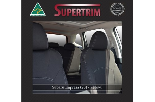 Subaru Impreza FRONT Full-back with Map Pockets & REAR Full-back Seat Covers Custom Fit (2017-Now), Premium Neoprene, Waterproof | Supertrim