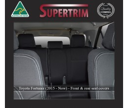 Seat Covers Front Pair Full-back With Map Pockets & Full-Back Rear Snug Fit For (Oct 2015 - Now) Toyota Fortuner (AN160), Premium Neoprene (Automotive-Grade) 100% Waterproof