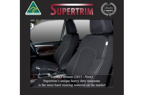 Seat Covers Front pair With Full-back & Map Pockets Snug Fit For (Oct 2015 - Now) Toyota Fortuner (AN160), Premium Neoprene (Automotive-Grade) 100% Waterproof