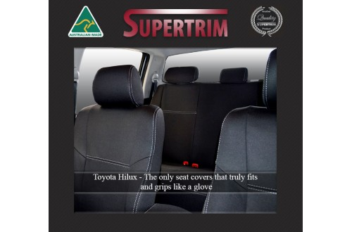 Seat Covers Front 2 Buckets With Side Airbags Full-back With Map Pockets & Rear Snug Fit For Hilux MK.7 Aug 2009 - Aug 2015, Premium Neoprene (Automotive-Grade) 100% Waterproof