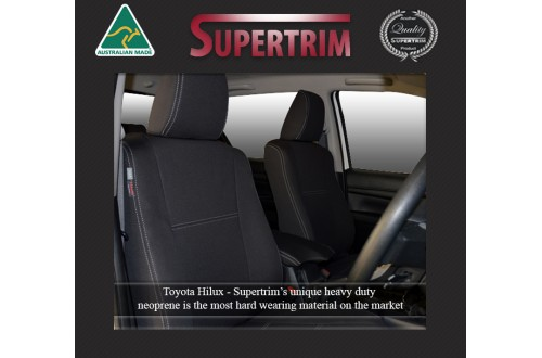 Seat Covers Front Pair Full-back With Map Pockets & Rear + Armrest Snug Fit for Hilux (9/2015 - Now), Premium Neoprene (Automotive-Grade) 100% Waterproof