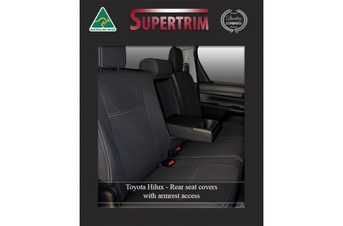 Seat Covers Rear + Armrest Snug Fit for Hilux (9/2015 - Now) DUAL CAB, Premium Neoprene (Automotive-Grade) 100% Waterproof