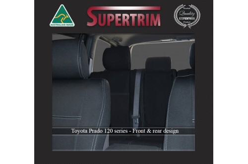 Seat Covers FRONT PAIR AND REAR suitable for Toyota Prado 120 Series Snug fit Charcoal black, Waterproof Premium quality Neoprene (Wetsuit), UV Treated