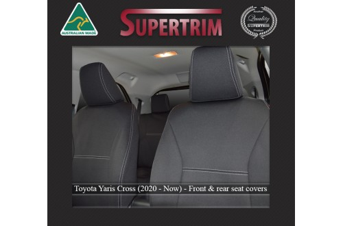 TOYOTA Yaris Cross (2020-Now) SEAT COVERS - FRONT PAIR, BLACK Waterproof Neoprene (Wetsuit), UV Treated