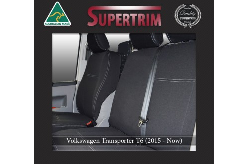 Volkswagen Transporter T6 FRONT Bucket & Bench Seat Covers Custom Fit (2015-Now), Premium Neoprene, Waterproof | Supertrim