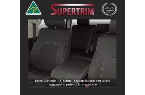 Seat Covers FRONT PAIR Snug Fit For (Nov07 - Sept 15) Landcruiser J200 (200 Series) - Sahara, Altitude & VX, Premium Neoprene (Automotive-Grade) 100% Waterproof