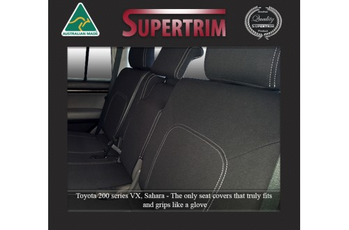 Seat Covers 2ND ROW FULL-BACK + ARMREST ACCESS Snug Fit For (Nov07 - Sept 15) Landcruiser J200 (200 Series) - Sahara, Altitude & VX, Premium Neoprene (Automotive-Grade) 100% Waterproof
