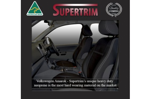 Seat Covers FRONT 2 Bucket Seats + Console Lid Snug Fit for Volkswagen Amarok (Feb 2011 - Now) Premium Neoprene (Automotive-Grade) 100% Waterproof