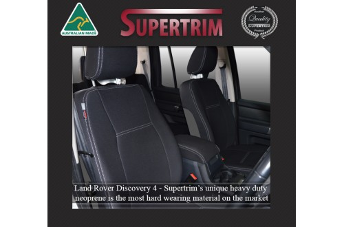 LAND ROVER Discovery 4 (2009-2016) SEAT COVERS - FRONT PAIR, BLACK Waterproof Neoprene (Wetsuit), UV Treated