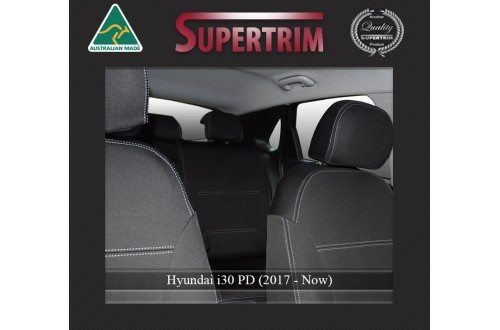 FRONT Seat Covers Full-Length With Map Pockets & Rear Full-length Custom Fit Hyundai i30 PD (2017-Now), Premium Neoprene, Waterproof | Supertrim