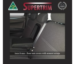 REAR Seat Covers with Armrest Access Snug Fit for Isuzu D-Max RC (May 2012 - Now), Premium Neoprene (Automotive-Grade) 100% Waterproof